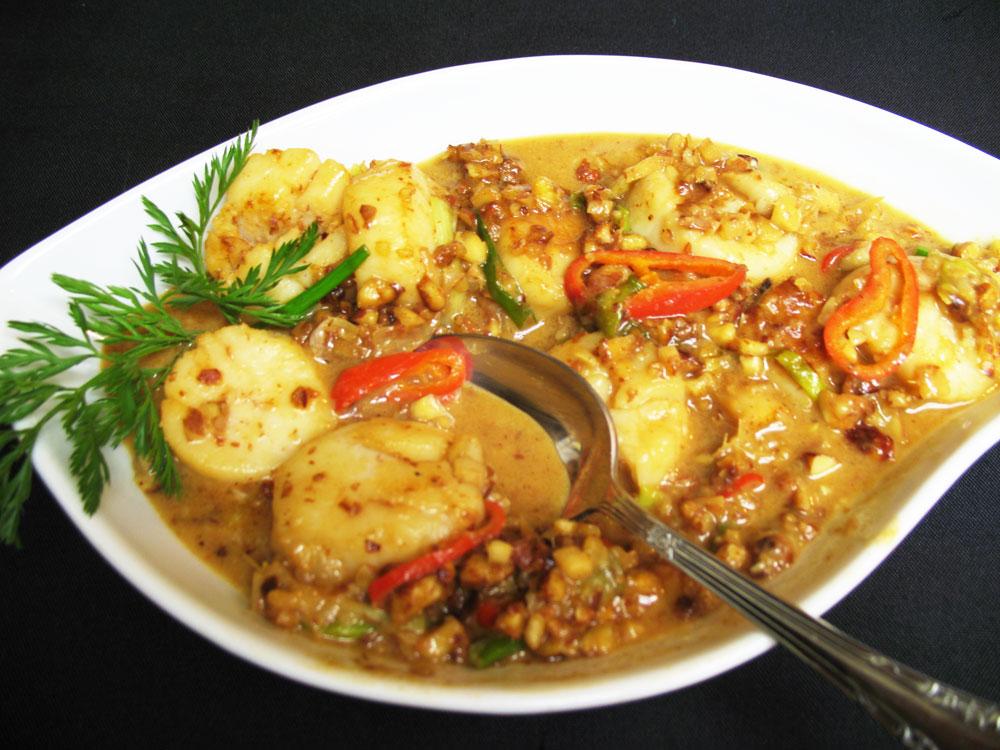 scallop green tea rice