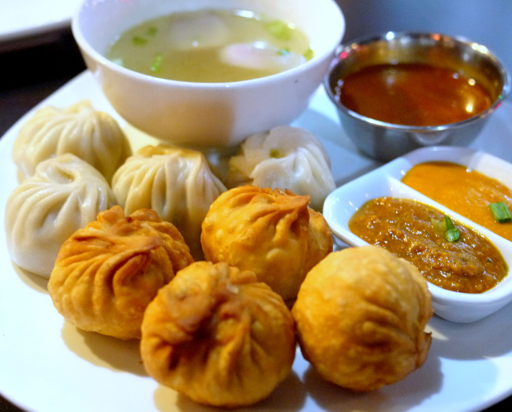 steamed and fried momos